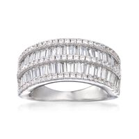 4.55 ct. t.w. Baguette and Round CZ Ring in Sterling Silver. Size 7