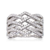 .50 ct. t.w. CZ Open-Weave Ring in Sterling Silver. Size 9