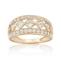 .90 ct. t.w. Round and Princess-Cut CZ Open-Space Ring in 14kt Yellow Gold. ..