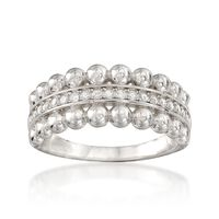 "Image of "".10 ct. t.w. CZ Beaded Edge Ring in Sterling Silver. Size 7"""