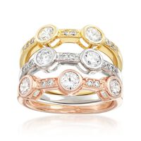 1.95 ct. t.w. CZ Jewelry Set: Three Rings in 18kt Tri-Colored Gold Over Ster..