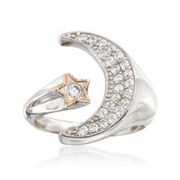 .35 ct. t.w. CZ Moon and Star Cuff Ring in 14kt Yellow Gold and Sterling Sil..