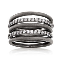 Sterling Silver Jewelry Set: Five Stackable Rings With 1.10 ct. t.w. CZs. Si..
