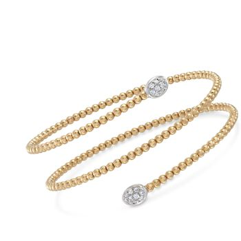 Simon G. Classic Romance .27 Carat Total Weight Diamond Beaded Coil Bangle in 18-Karat Yellow Gold. 7""