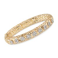 1.40 ct. t.w. Diamond Cluster Floral Bangle Bracelet in 18kt Yellow Gold. 7&..