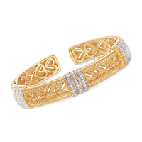 .28 ct. t.w. Diamond Cuff Bracelet in Sterling Silver and 18kt Yellow Gold O..