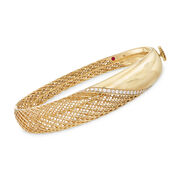 Roberto Coin .37 ct. t.w. Diamond Rounded Bangle Bracelet in 18kt Yellow Gold. 7""