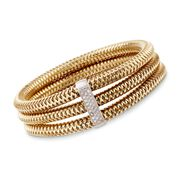Roberto Coin Primavera 1.05 Carat Total Weight Diamond Bangle in 18-Karat Yellow Gold. 7""