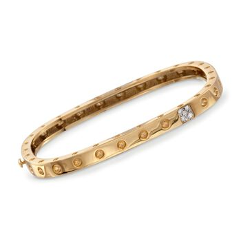 Roberto Coin Pois Moi Diamond Accent Square Bangle in 18-Karat Yellow Gold. 7""