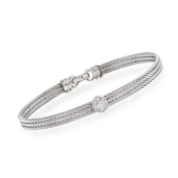ALOR Classique Diamond Station Bangle in Stainless Steel and 18-Karat White Gold. 7""