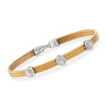 """ALOR Classique .14 Carat Total Weight Diamond Triple-Station Bracelet in Yellow Stainless Steel and 18-Karat White Gold  . 7"""""""