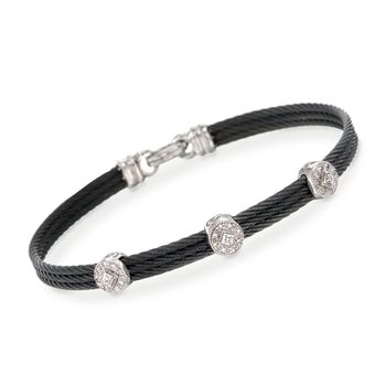 """ALOR Classique .14 Carat Total Weight Diamond Bracelet in Black Stainless Steel and 18-Karat White Gold. 7"""""""