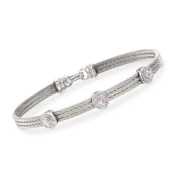 """ALOR Classique .14 Carat Total Weight Diamond Triple-Station Bracelet in Gray Stainless Steel and 18-Karat White Gold. 7"""""""