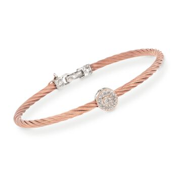 """ALOR Diamond Round Station Bracelet in 18-Karat Two-Tone Gold and Rose Stainless Steel. 7"""""""