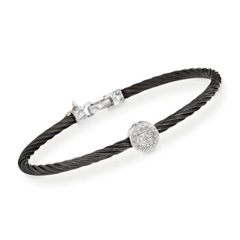 ALOR Diamond Round Station Bracelet in 18-Karat White Gold and Black Stainless Steel. 7""
