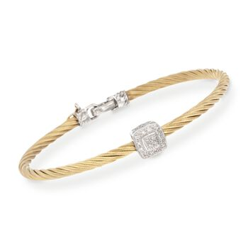 """ALOR Diamond Square Station Bracelet in 18-Karat White Gold and Yellow Stainless Steel. 7"""""""