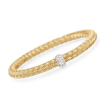 Roberto Coin Primavera .24 Carat Total Weight Diamond Bracelet in 18-Karat Yellow Gold. 7""