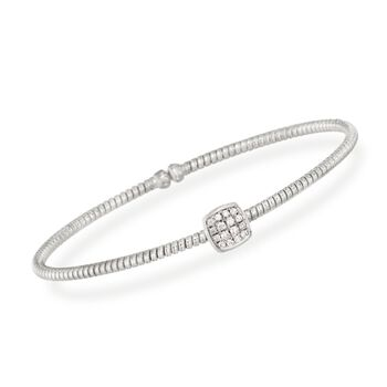 Simon G. .16 Carat Total Weight Diamond Square Flex Bangle in 18-Karat White Gold. 7""