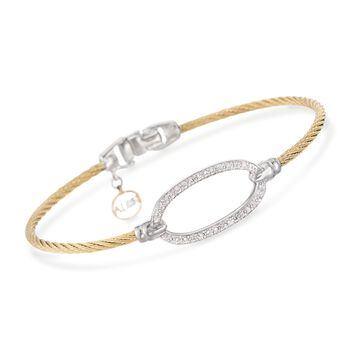 """ALOR .16 Carat Total Weight Diamond Oval Yellow Cable Bracelet With 18-Karat White Gold. 7"""""""
