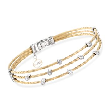 """ALOR Classique .18 Carat Total Weight Yellow Multi-Cable Bracelet With 18-Karat White Gold. 7"""""""