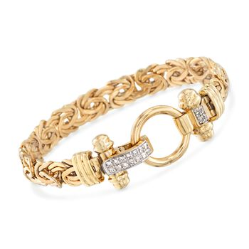 14-Karat Yellow Gold Byzantine Bracelet With .27 Carat Total Weight Diamond Clasp