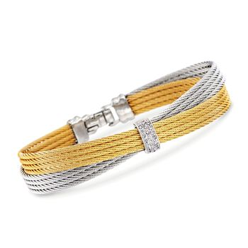 """ALOR Classique .16 Carat Total Weight Diamond Crisscross Bangle With 18-Karat White Gold in Two-Tone Stainless Steel. 7"""""""
