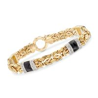 .24 ct. t.w. Diamond and Black Enamel Byzantine Station Bracelet in 14kt Yel..