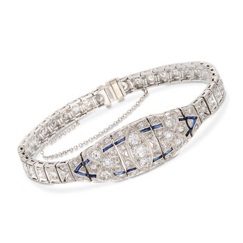C. 1950 Vintage 4.00 ct. t.w. Diamond and .40 ct. t.w. Synthetic Sapphire Bracelet in Platinum. 7""