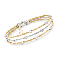 "ALOR ""Classique"" .18 ct. t.w. Diamond Two-Tone Sterling Silver Cable Bracelet With 18kt Two-Tone Gold. 7"""
