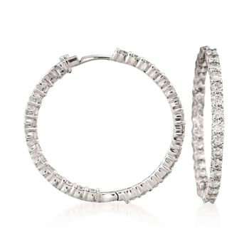 Roberto Coin 2.84 Carat Total Weight Diamond In-And-Out Hoops in 18-Karat White Gold
