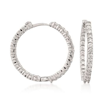 Roberto Coin 1.55 Carat Total Weight Diamond In-And-Out  Hoops in 18-Karat White Gold