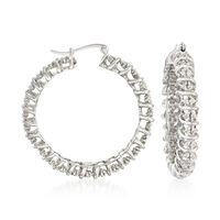 1.00 ct. t.w. Diamond Hoop Earrings in Sterling Silver. 1 3/8""