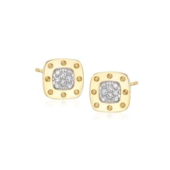 Roberto Coin Pois Moi .24 Carat Total Weight Diamond Stude in 18-Karat Yellow Gold