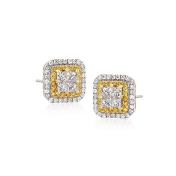 Gregg Ruth 1.11 Carat Total Weight Yellow and White Diamond Studs in 18-Karat White Gold