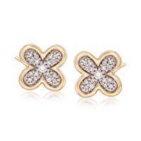 "Image of "".10 ct. t.w. Diamond Floral Earrings in 14kt Yellow Gold """