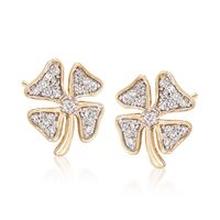 "Image of "".10 ct. t.w. Diamond Four-Leaf Clover Earrings in 14kt Yellow Gold"""