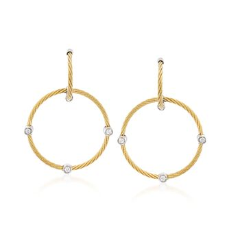 ALOR Classique Yellow Stainless Steel Cable Hoop Drops With Diamonds and 18-Karat White Gold