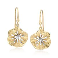14kt Two-Tone Gold Lily Pad Earrings With Diamond Accents