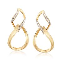 "Image of "".10 ct. t.w. Diamond Figure-Eight Drop Earrings in 14kt Yellow Gold"""