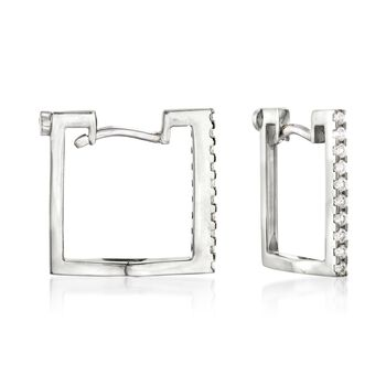 Roberto Coin .19 Carat Total Weight Diamond Square Hoops in 18-Karat White Gold
