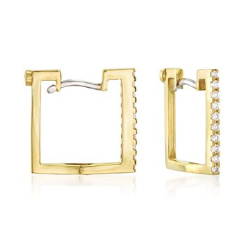 Roberto Coin .19 Carat Total Weight Diamond Square Hoops in 18-Karat Yellow Gold