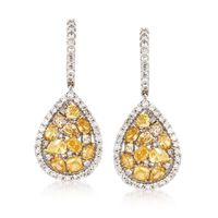 2.50 ct. t.w. Multicolored Diamond Pear-Shaped Drop Earrings in 14kt White G..