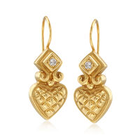 C. 1980 Vintage Nancy and David 18kt Yellow Gold Heart Drop Earrings With .1..