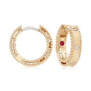 "Roberto Coin ""Symphony Princess"" Diamond–Accented Hoop Earrings in 18kt Yellow Gold. 1/2"""