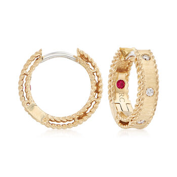 """Roberto Coin """"Symphony Princess"""" Diamond–Accented Hoop Earrings in 18kt Yellow Gold. 1/2"""""""