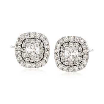 Henri Daussi 1.03 Carat Total Weight Diamond Studs in 18-Karat White Gold