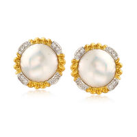 C. 1980 Vintage 15mm Cultured Mabe Pearl and .35 ct. t.w. Diamond Earrings i..