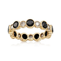 2.00 ct. t.w. Black and White Diamond Eternity Band in 14kt Yellow Gold. Size 6