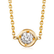 Roberto Coin .10 Carat Diamond Bezel Necklace in 18-Karat Yellow Gold. 16""