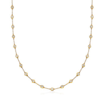 3.00 ct. t.w. Bezel-Set Diamond Station Necklace in 14kt Yellow Gold